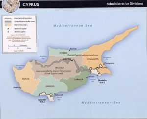administrative map of Cyprus