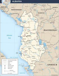 political map of Albania