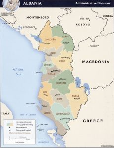 Map of regions of Albania