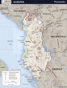 Relief map of Albania