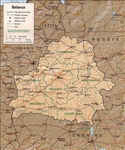 Relief map of Belarus