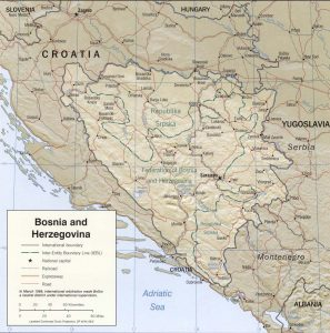 Relief map of Bosnia and Herzegovina
