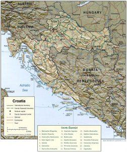 Relief map of Croatia