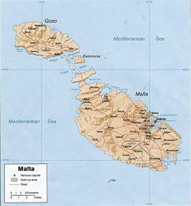 Malta relief map