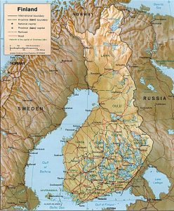 Relief map of Finland