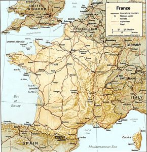 General Relief map of France