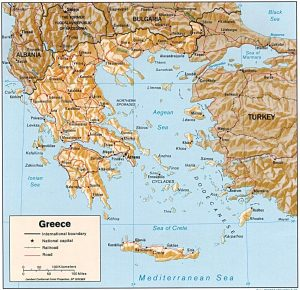 Relief map of Greece