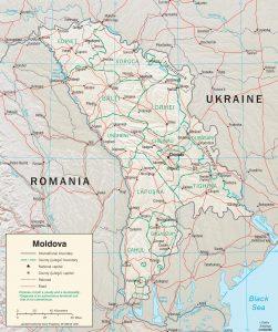 Relief map of Moldova