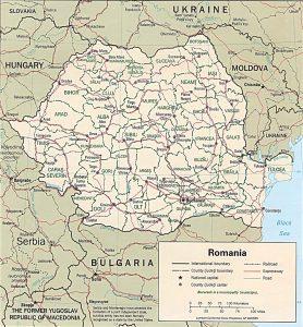 Political map of Romania