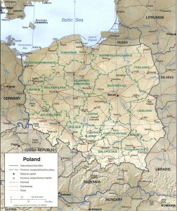 Map of Poland, Relief and regions