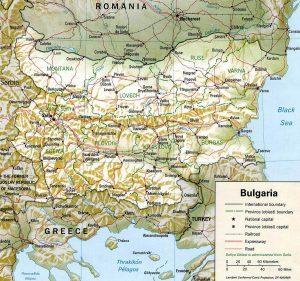 Relief map of Bulgaria