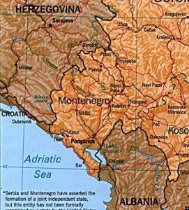 Relief map of Montenegro