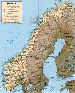 Relief map of Norway