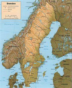 Relief map of Sweden
