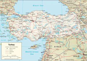 Map of Turkey terrain