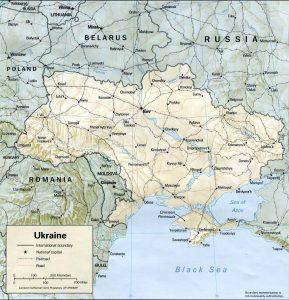 Mappa del rilievo di Ucraina