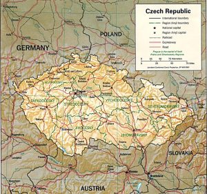 Relief map of the Czech Republic