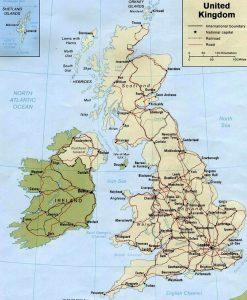 Map of UK roads