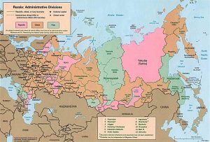 Map of administrative regions of Russia