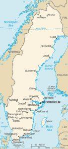 General map of Sweden