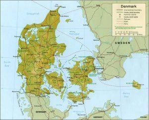 Relief map of Denmark