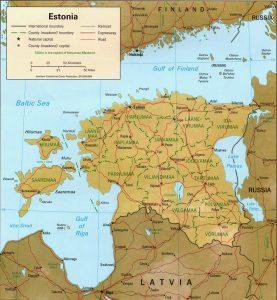 Map of Estonia relief