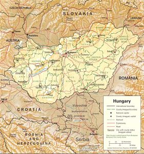 Relief map of Hungary