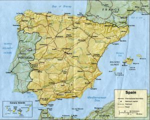Map of Spain relief
