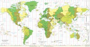 Mappa dei fusi orari mondo