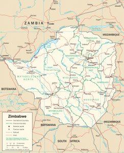 Carte politique du Zimbabwe